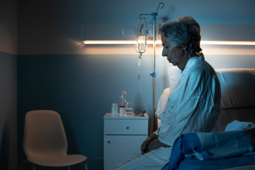 Woman in hospital room